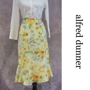 Alfred Dunner Yellow Spring Floral Chiffon Skirt